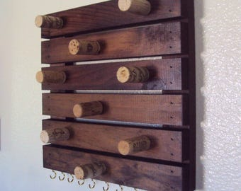 Wood & Wine Cork Jewelry Rack - Bohemian Bracelet Holder - Rustic Jewelry Display - Necklace and Earring Organizer - Wooden Pallet Wall Rack