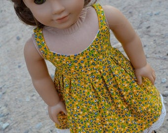 18 doll dress, yellow floral sundress, 18 inch doll clothes
