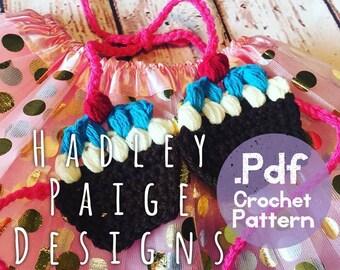 CELEBRATE cupcake top crochet pattern (one size 1-4yrs) Hadley Paige Designs.  Boho kids.  Summer wear. Beach wear.  Kids fashion. Birthday