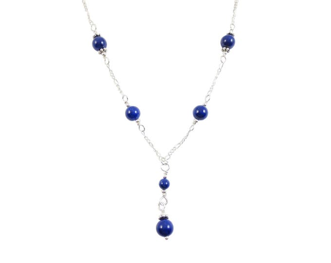 6 mm Lapis Lazuli Bead Y Necklace on Sterling Silver or 14k Gold Fill