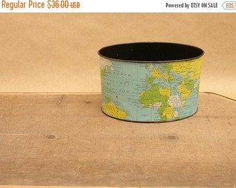 ON SALE vintage 50's tin litho world globe desktop accessory letter holder