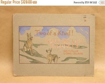 """ON SALE antique 1924 signed & dated original illustration advertising art for """"Long Island Dog Kennels"""", german shepherd"""