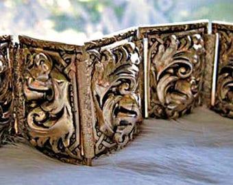 Baroque Florentine Wide Bracelet. Raised Curving Golden Nouveau Leaf Panels, Vargas Style Wide Gold Repousse Links, Whiting Davis
