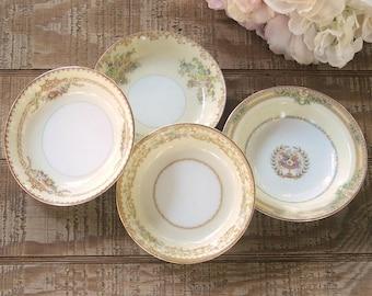 Mismatched Cottage Style Dessert Bowls Set of 4 Sauce Bowls, Wedding, Berry Bowls, Vintage Replacement China