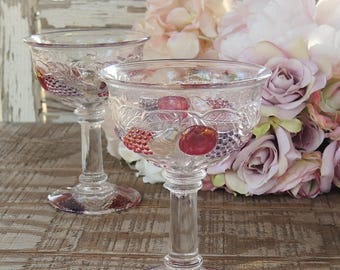 Vintage Westmoreland Della Robbia Flashed Champagne Glasses Set of 2 Tall Sherbet Glasses Tea Party Glassware