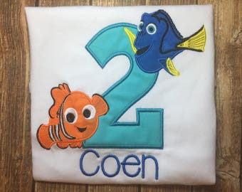 Custom nemo and dory birthday shirt- finding dory birthday shirt- finding nemo birthday shirt