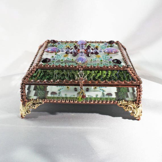 Jewelry Box, Glass Box, Stained Glass, Treasure Box, Glass Jewels