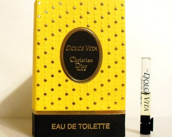 Vintage  1990s Dolce Vita 0.027 oz Eau de Toilette Splash Sample Vial on Card PERFUME