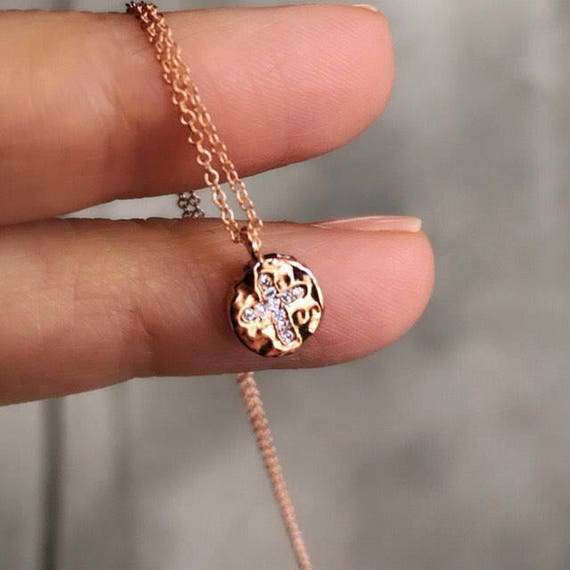 Rose gold cross necklace, tiny charms, boho jewelry, cross jewelry