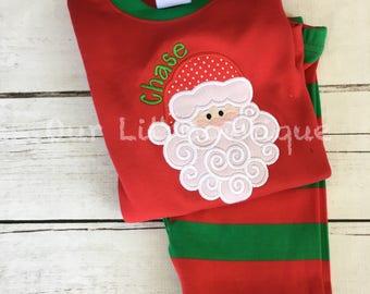 PRE-ORDER - Santa Pajamas - Christmas Pajamas -  Santa PJS- Girls Christmas Pajamas - Boys Christmas Pajamas - Santa Christmas PJs - Plaid