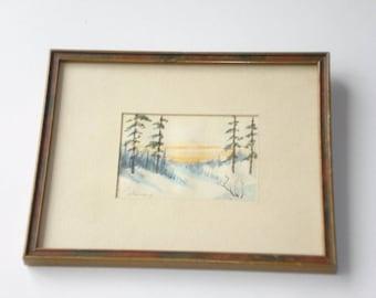 Vintage Miniature Watercolour Painting J A Jenkin Signed - Mini Winter Landscape Original 1960s