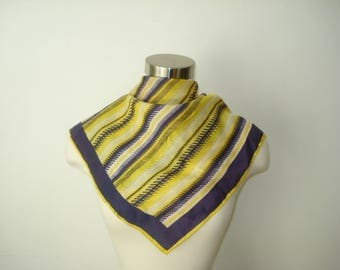 Vintage Purple Yellow Scarf - Square Striped Fall Fashion Scarves - Womens Autumn Accessories 1970s