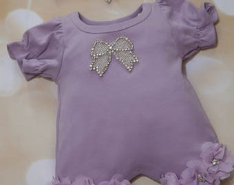 Bubble Romper Baby Girl Romper Set Little Rhinestone Bow Lavender Infant One Piece Set with Chiffon and Matching Headband