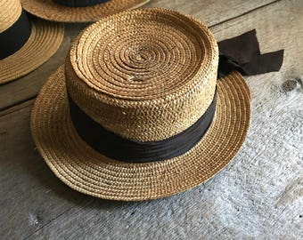 Authentic French Straw Boater Hat, Grosgrain Ribbon