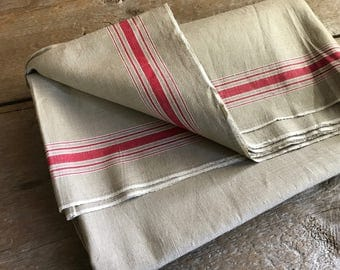 Vintage French Linen Mangle Cloth, Table Runner, Fabric For Upholstery,  Drapery, Cushions