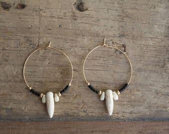Gold hoop beads earrings, Boho Hoop earrings, Gold and black hoops, Beaded hoops, Tribal hoop earrings, Gold filled hoop and spike earring