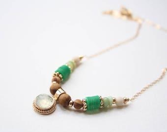 gemstone pendant necklace, green gemstone necklace, boho green necklace, necklace gift for mom, multi gemstone necklace, prehnite necklace