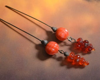 Vintage Glass Art Beads Soldered headpins Charms. Orange Grape Cluster Fruit mid century beads.