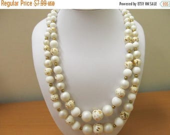 ON SALE Vintage Double Strand White and Gold Beaded Necklace Item K # 1671
