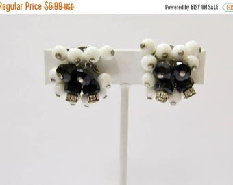 ON SALE Vintage Black and White Glass Beaded Cha Cha Earrings Item K # 1765