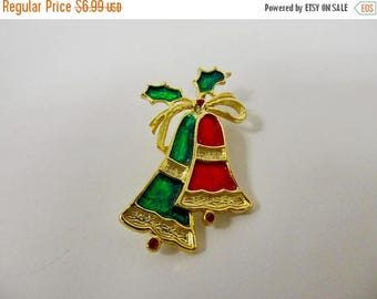 ON SALE Retro Enameled Christmas Bell Pin Item K # 464