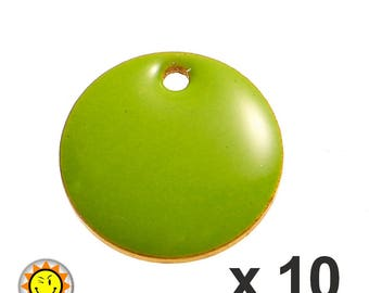 x 10 sequins 12mm Green enamel charms