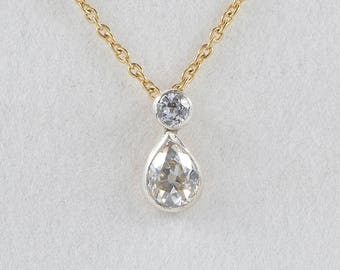 Reduced! Victorian 1.20 Ct diamond plus pear shaped drop necklace