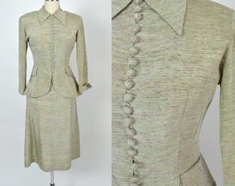 Vintage 1950s Suit late 1940s Designer Suit New Look 50s Dress Nipped Waist