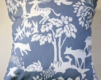 """Cushion Cover in Blue Woodland Creatures Print 14"""" 16"""" 18"""" 20"""""""