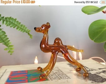 SALE 30% OFF Vintage Amber Glass Camel Ornament by Murano, kitsch decor, glass animal, miniature animal gift