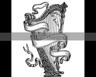 Instant Digital Download, Antique Victorian Graphic, Irish Harp, Ribbon Banner, Scroll, Vintage Printable Image, Scrapbook, St Patrick's Day