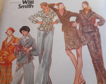 Vintage 1970's Butterick 3245 Young Designer Willi Smith Jacket, Skirt, Pants, and Cap Sewing Pattern Size 12 Bust 34