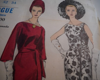 Vintage 1960's Vogue 5937 Special Design Dress Sewing Pattern Size 12 Bust 32