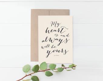 Jane Austen Romantic Greeting Card