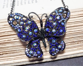 Blue Crystal Butterfly Pendant