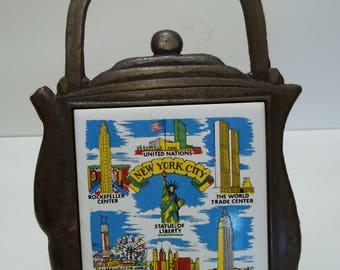 Vintage 1970's New York Teapot Trivet Cast Iron Tile Souvenir