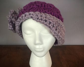 Ladies Crocheted Hat, Crocheted Flapper Hat, Chemo Hat