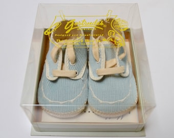 vintage baby shoes in box, unused, Gertrude's, baby blue corduroy, size 1
