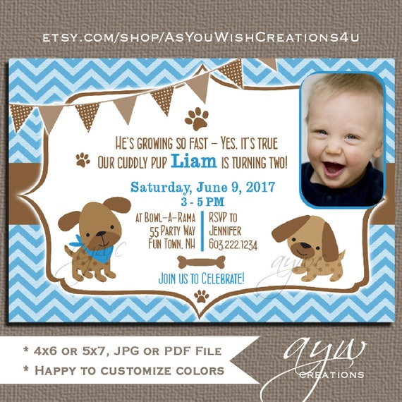 Dog Birthday Party Invitations Boy Puppy Dog Party Invites 1st