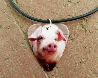 Pig Hog guitar pick on black necklace jewelry his hers cute pig necklace love scene pink pig beautiful picture farm girl barn jewelry