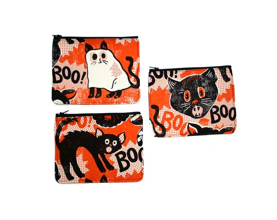 zipper pouch, cosmetic bag, change purse, Halloween, cats, orange, vintage Halloween, vinyl