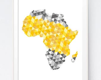 Yellow Gray Africa Map Print, Mustard and Grey Africa Map Wall Art, Gold and Shadows of Grey Triangle Wall Art, INSTANT DOWNLOAD