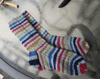 Hand knit man's or woman's striped socks