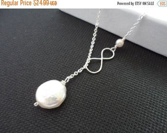 ON-SALE Infinity and Pearl Necklace - Lariat Style,  Bridal Pearl Necklace, Wedding Jewelry, Mothers Gift, Best Friend Gift, Wedding Gift Id