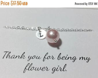 ON-SALE Initial Charm and Pearl Bracelet - Junior Bridesmaid and Flower Girl Gift, Bridesmaid Gift,  Wedding Jewelry Gift Ideas