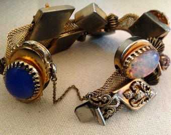 2Days Sale Victorian Revival Slide Bracelet/ Mesh & Faux Gemstone Vintage Slide Charms Multi Colored Stones