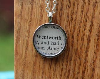 Anne and Wentworth - Persuasion Book Page Pendant Necklace - Jane Austen - Literary Jewelry - Book page jewelry