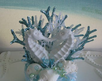 Seahorse Wedding Cake Topper~Seashell Wedding Cake Topper