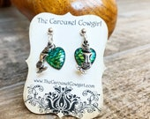 Mermaid Scale Earrings, Green Mermaid Scales, Green Mermaid Earrings, Mermaid Earrings, Nautical Jewelry, Ocean Jewelry, Green