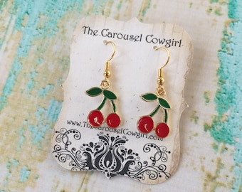 Cherry Earrings, Enamel Cherry Earrings, Fruit Earrings, Fruit Jewelry, Cherry Jewelry, Summer Jewelry, Summer Earrings, Cherries